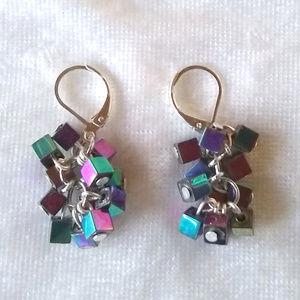 Jewelry - Iridescent rainbow coated hematite cube earrings
